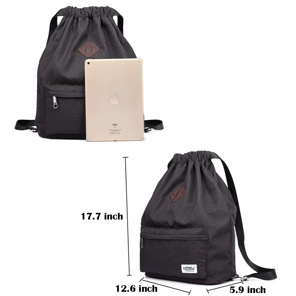 Drawstring Bags Black Drawstring Bags Sports Backpack Gym Yoga Sackpack Lightweight Shoulder Rucksack for Men and Women