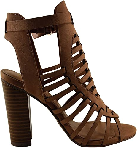 Womens Shoes Delicious Ibiza S Open Toe Caged Chunky Heel DARK SAND *New*