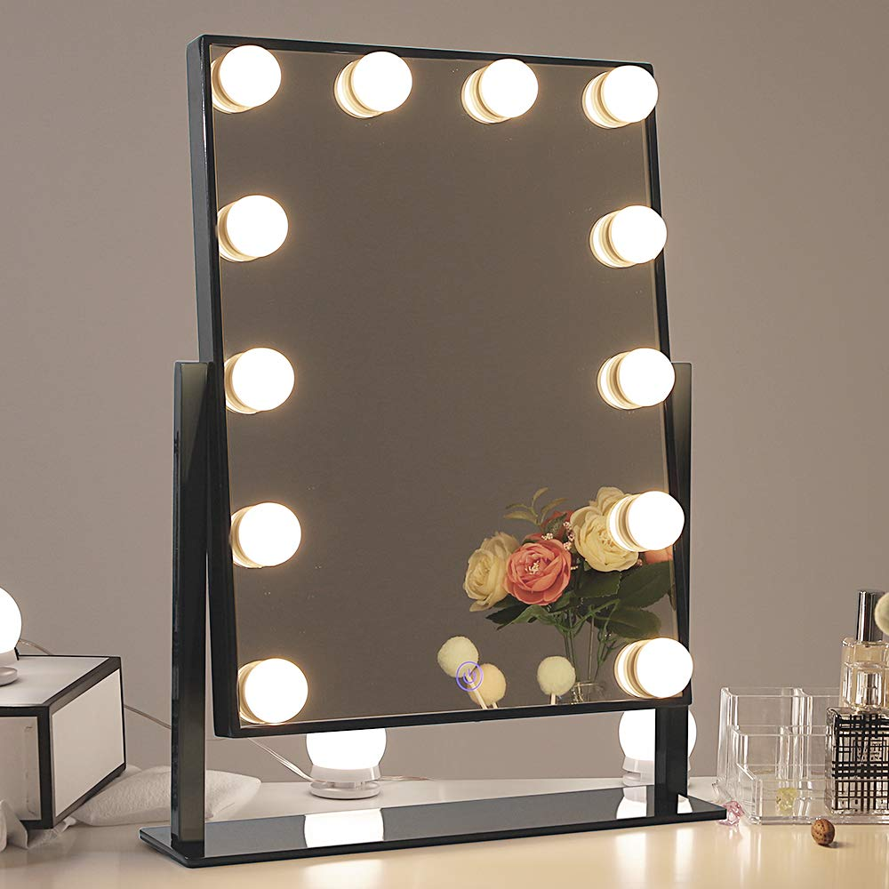 Chende Glossy Black Lighted Vanity Mirror with Dimmable LED Bulbs, Hollywood Style Makeup Mirror with Lights for Touch Control Design, 3 Different Lighting Settings (4030 Black) by Chende