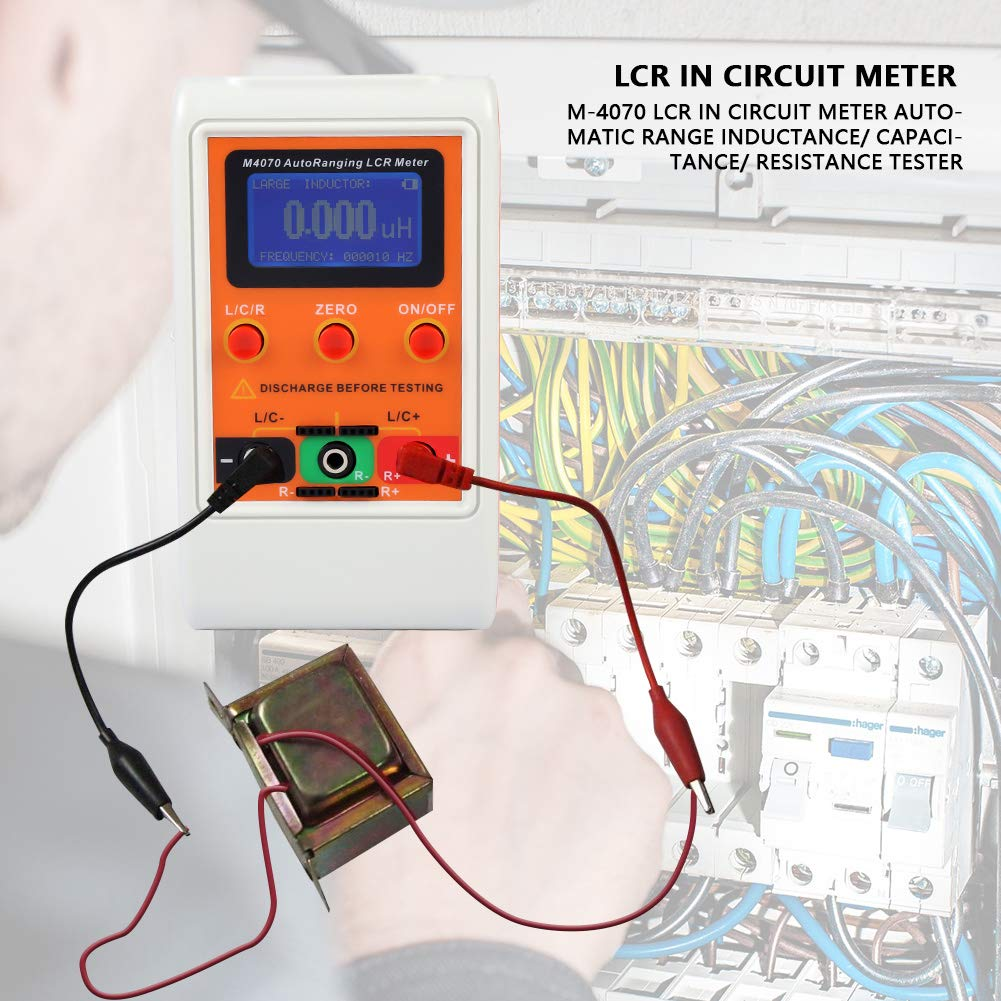 Akozon Lcr Meter M 4070 In Circuit Automatic Range Esting For Resistance A Inductance Capacitance Tester 1 Accuracy 5 Digit Display Orange