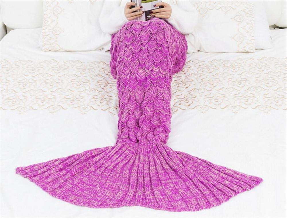Amazon.com: L&T STAR Mermaid Tail Blanket Fish Scale Knit Warm Mermaid Tail Adult Children Blanket Size 180 90mm , E: Home Improvement