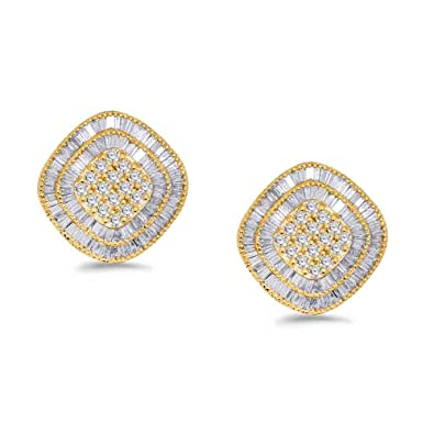 ef7b8a68663 10K Yellow Gold Round   Baguette Real Diamond Cluster Ring Earrings Pendant  Set (3.15 TCW