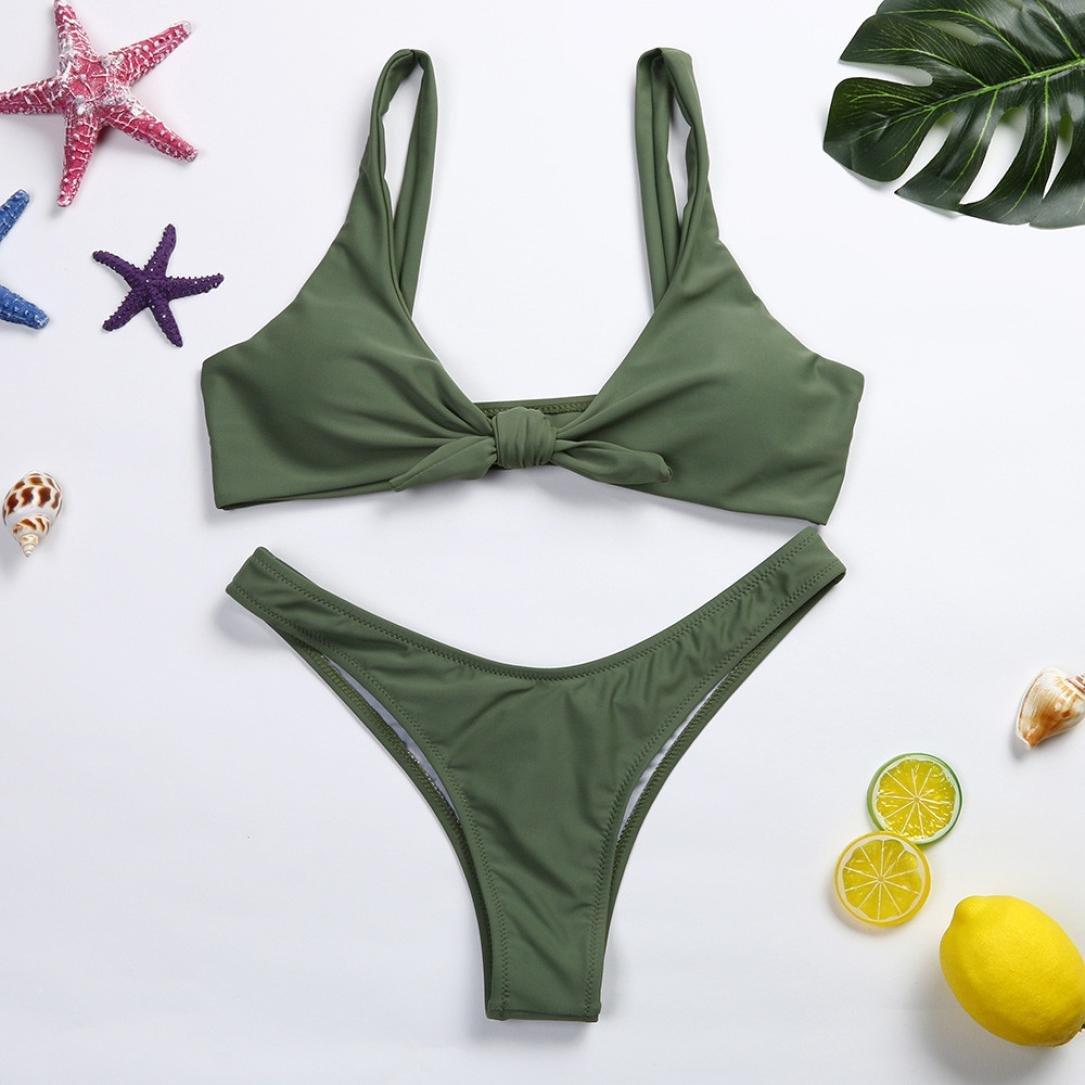 48866aed903bea Amazon.com  Alixyz Women s Halter V Neck Bandage Bow Tie High Cut Bikini  Sets Two Pieces Swimwear  Clothing