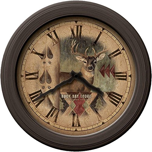 12 in. Bronze Round Buck Wall Clock
