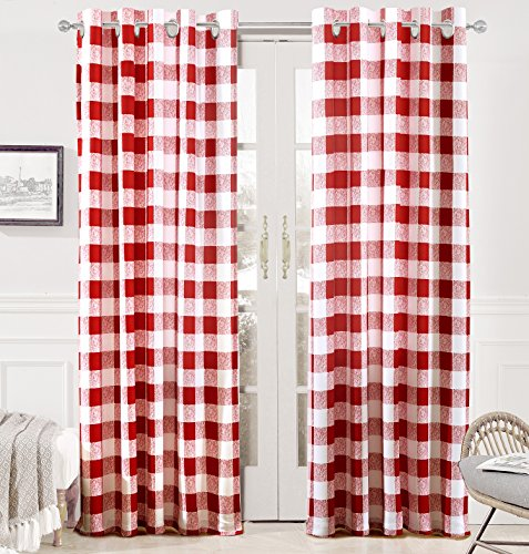 (DriftAway Buffalo Checker Pattern Grommet Room Darkening Window Curtains, Printed Plaid, Set of Two Panels, 52