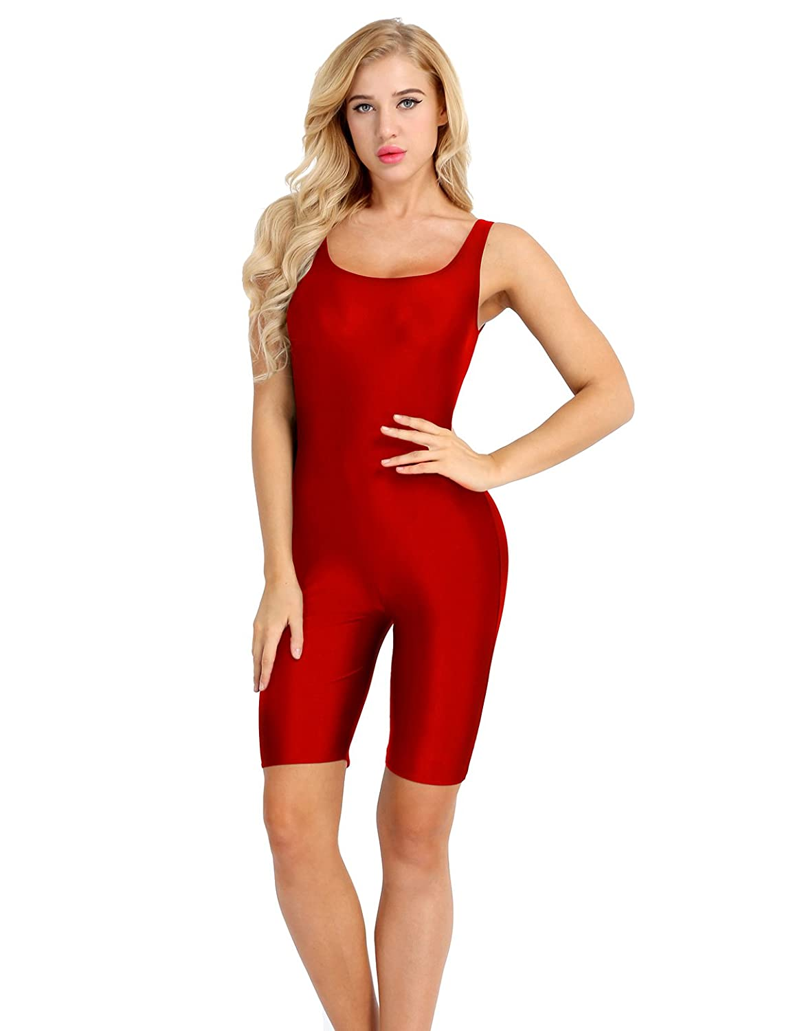 dPois Womens Sleeveless Stretch Solid Lycra Tank Top Gym Sports Yoga Leotard Unitard Bodysuit