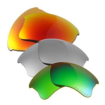 5c5dc0e061c HKUCO Plus Replacement Lenses For Oakley Flak Jacket XLJ Red Titanium Emerald  Green Sunglasses  Amazon.co.uk  Sports   Outdoors