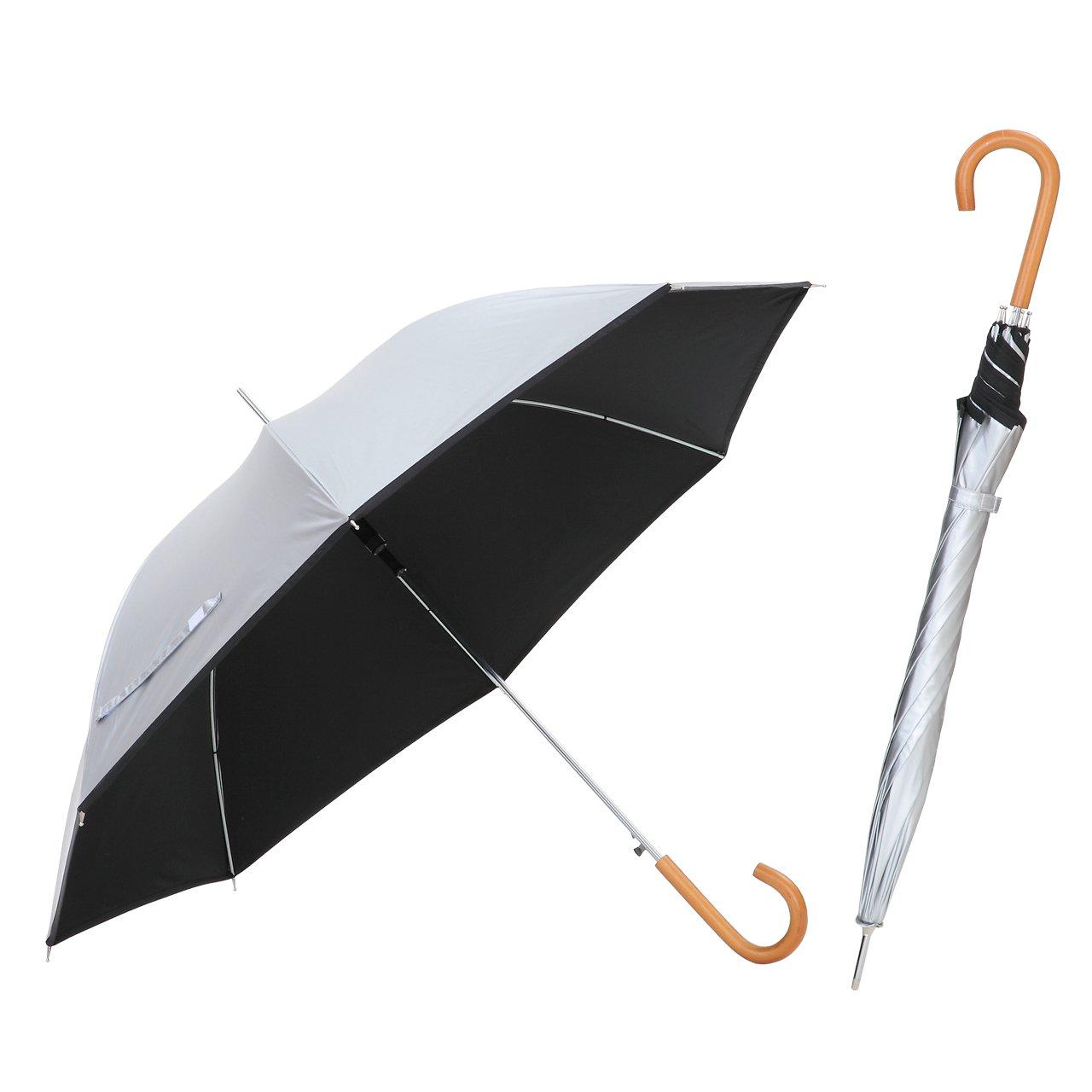日傘 親骨60cm 直径106cm <ひんやり傘> ジャンプ傘 シルバー/ブラック 晴雨兼用 UPF50+ UVカット率99%以上 遮光率99%以上 遮熱効果 長傘 ワンタッチ 【LIEBEN-0102】