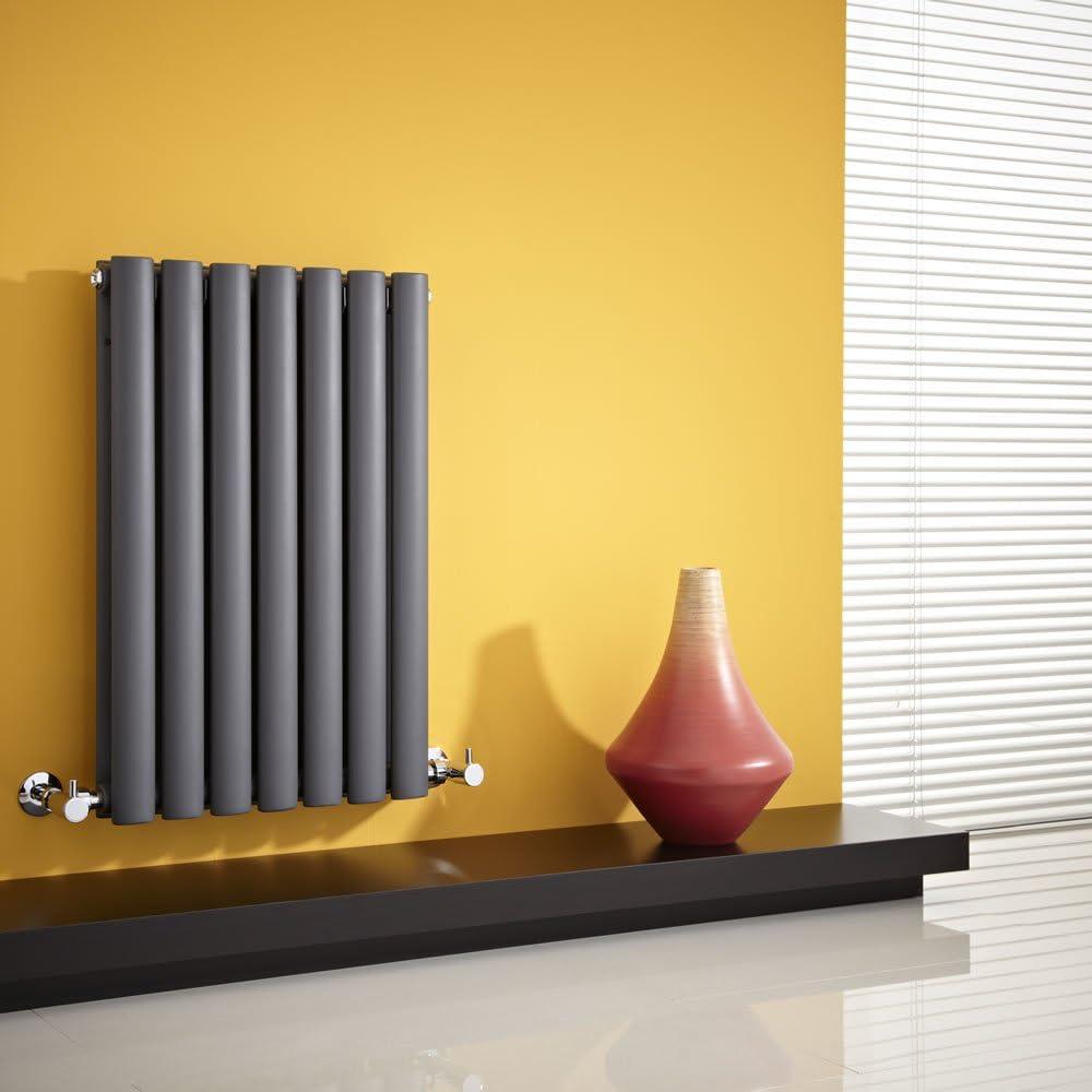 Hudson Reed Radiador Revive Horizontal con Calefacción de Diseño Moderno - Acabado Antracita - Diseño de Columna - 635 x 415mm - 652W - Calefacción