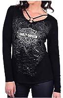 Harley-Davidson Women's Stone Serpent Embellished Scoop Neck Long Sleeve Shirt