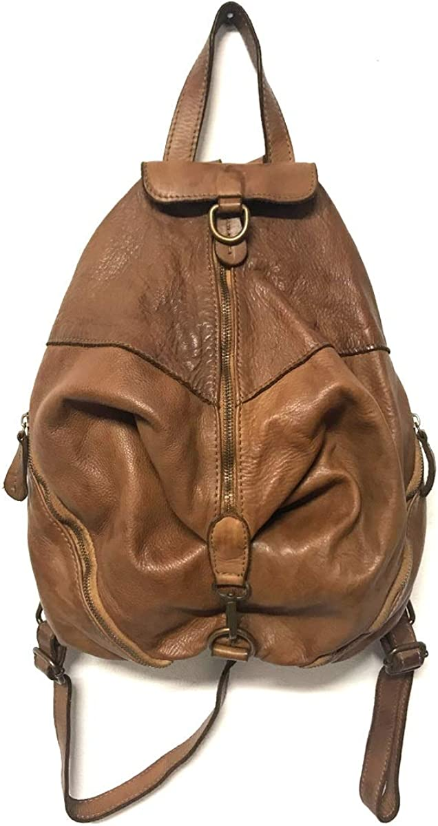 ZETA SHOES Zaino in Vera Pelle Made in Italy Vintage Borsa Donna backpack Cuoio