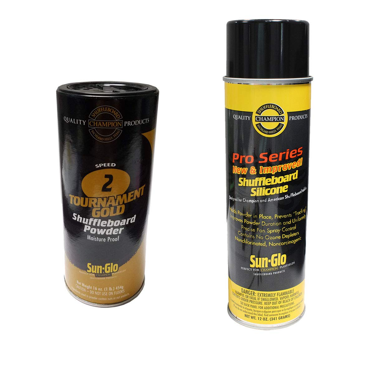 Sun-Glo Silicone Shuffleboard Spray (12 oz.) & Shuffleboard Powder - Speed 2 - Tournament Gold (16 oz.) Combo by Sun-Glo