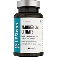 LES Labs Magnesium Citrate, Non-GMO Supplement, 750mg, 120 Capsules