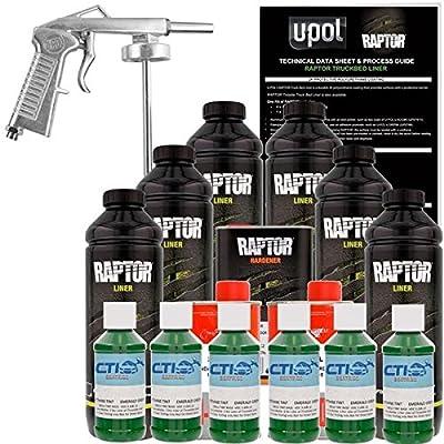 U-POL Raptor Emerald Green Urethane Spray-On Truck Bed Liner & Texture Coating W/Free Spray Gun, 6 Liters by U-Pol