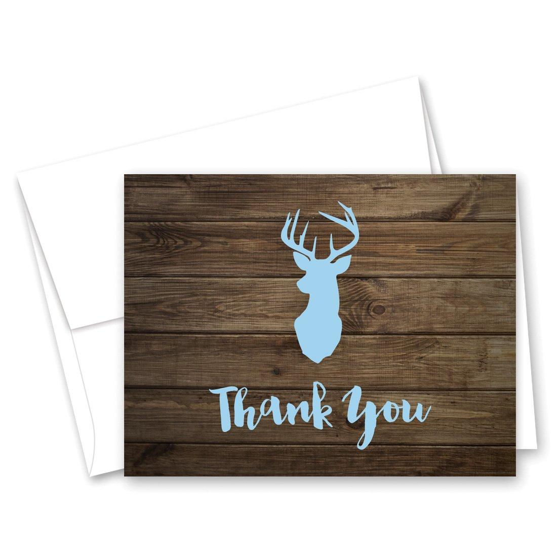 50 cnt Deer Head Thank You Cards (Blue)