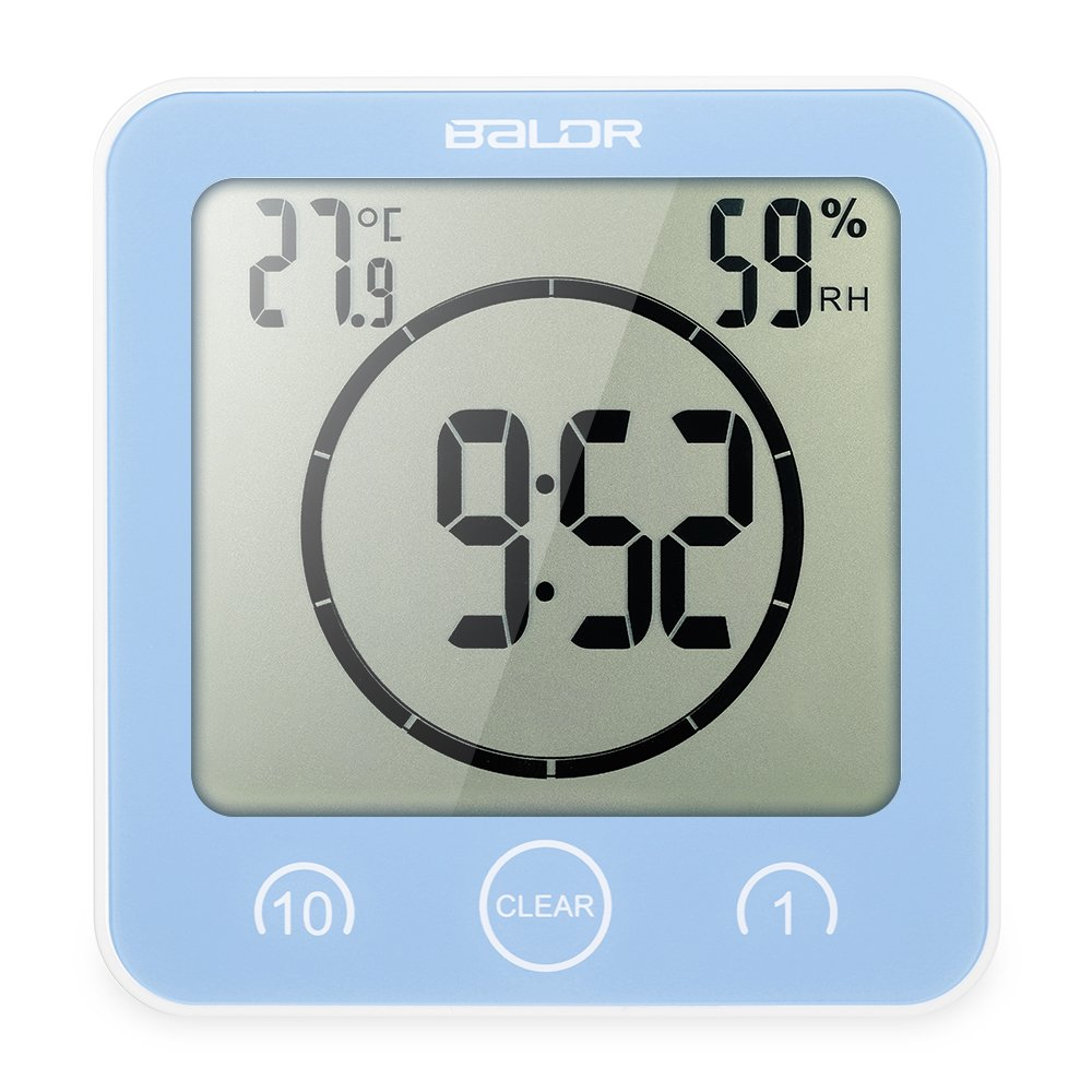Decdeal LCD Shower Clock with Timer, Large Screen Display Time Temperature Humidity,Light Blue