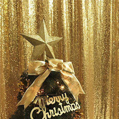 TRLYC 2FT by 8FT Christmas Sparkly Gold Sequin Window Curtain Backdrop for Wedding Party by TRLYC