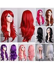 70cm Wavy Curly Sleek Full Hair Lady Wigs w Side Bangs Cosplay Costume Womens