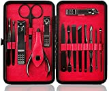 Keiby Citom Professional Stainless Steel Nail Clipper Travel & Grooming Kit Nail Tools Manicure & Pedicure Set of 15pcs with Luxurious Case(Black/Red)
