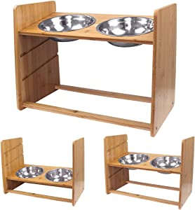 CHX Dog Bowls Elevated, Adjustable Bamboo Raised Dog Food Water Bowls, 10