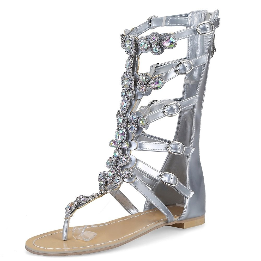DecoStain Women's Peep Toe Appliques Decoration Buckle Strap Thin High Heel Party Gladiator Sandals B07D48Z437 10.5 B(M) US|3 Silver