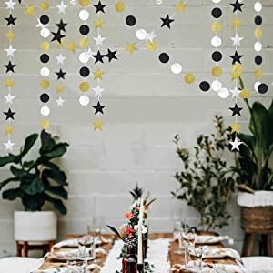 Glitter Gold and Black Star Garlands kit for Party Decorations Silver Hanging Twinkle Bunting Banner/Streamers/Backdrop/Background for Baby Shower/Birthday/Wedding/Graduation/New Year's Celebration