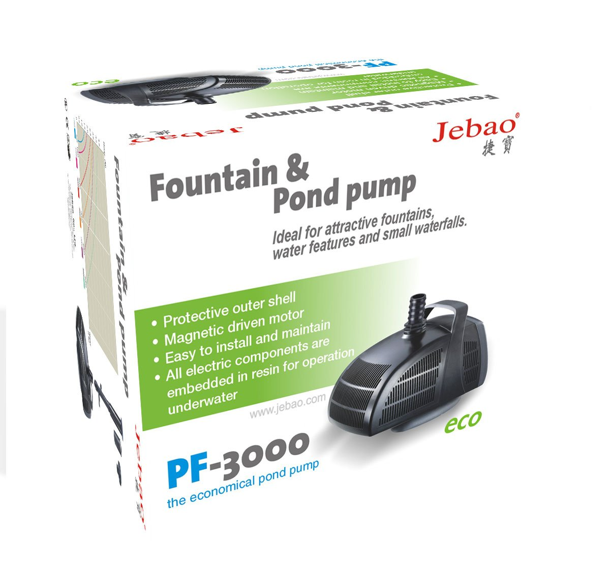 Jebao Submersible Water Pond Pump With Fountain Attachments 3000l H Installing For Pf3000 Garden Outdoors