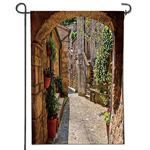 Cheap  SCOCICI1588 Summer Garden Flag Double-sided, Arched cobblestone street in a Tuscan village,..