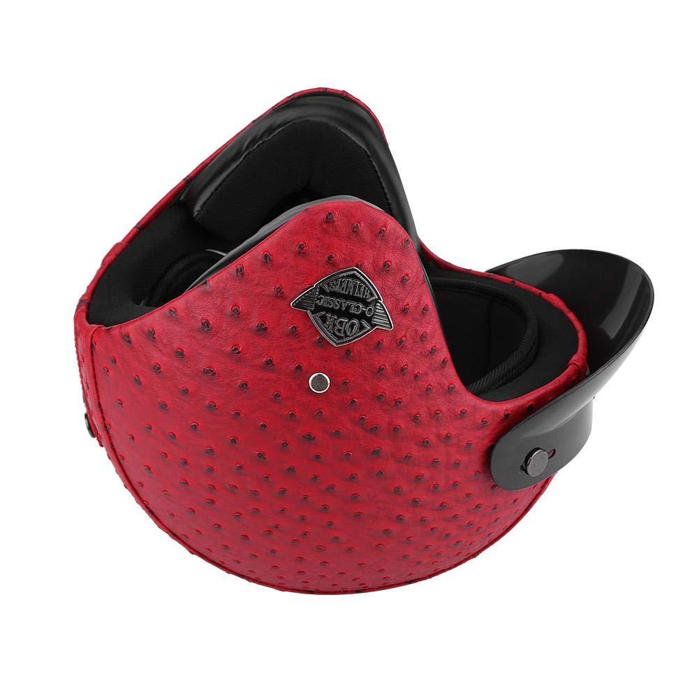 estilo retro estilo semiabierto de piel para moto diferentes tama/ños y colores a elegir Casco de moto con gafas de protecci/ón universal scooter