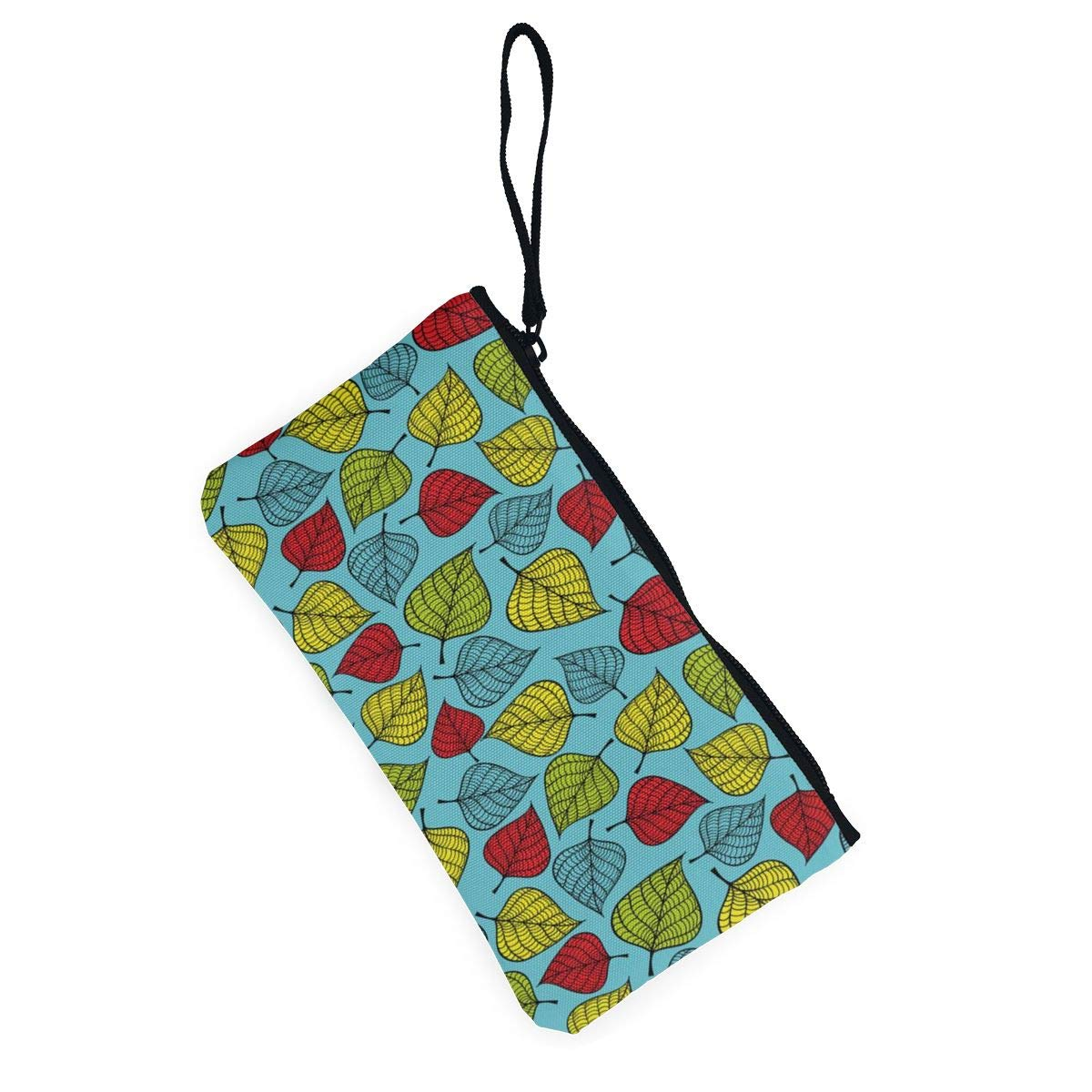 YUANSHAN Colorful Hand Drawn Falling Leaves Unisex Canvas Coin Purse Change Cash Bag Zipper Small Purse Wallets with Handle