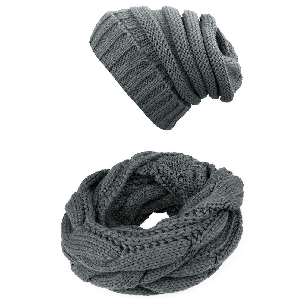 Knit Infinity Scarf Beanie Hat Set Winter Warm Scarfs Scarves Women Men Hats (Dark Grey)