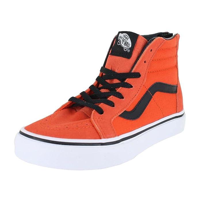 Vans Sk8-Hi Sneakers Kinder Unisex High Top Orange mit Schwarzen Streifen