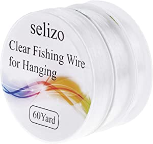 Fishing Wire, Selizo 3Pcs Clear Fishing Line Jewelry String Invisible Nylon Thread for Hanging Decorations, Beading and Crafts (3 Sizes, 60 Yards per Roll)