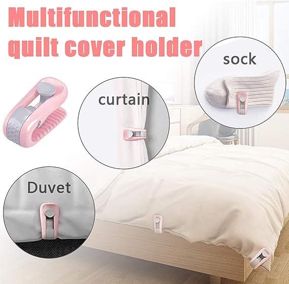 4pc White Bed Duvet Covers Sheet Holder Clamp Fastener Quilt Cover Gripper Clip