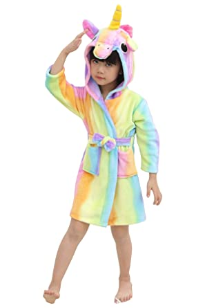 8c35cd8477 JYUAN Kids Unicorn Hooded Robe Plush Bathrobe with Pockets Pajamas  Halloween Loungewear Sleepwear Sleep Robes Gift