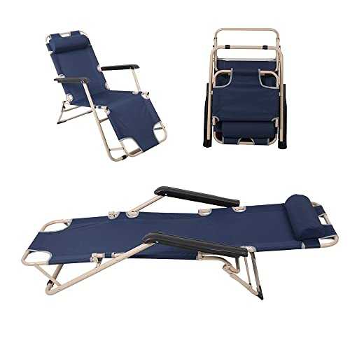 COLORTREE Indoor Furniture Lounge Chair Outdoor Folding Portable Garden Beach Chair Dark Blue