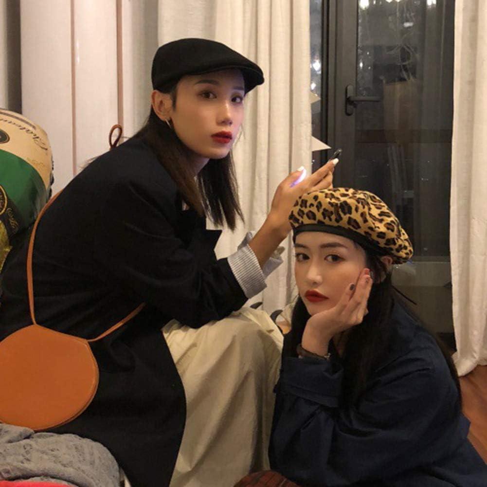 Softmusic Outdoor Traval Hats,Autumn Winter Vintage Women Leopard Print Warm Beanie Cap Slouch Beret Hat