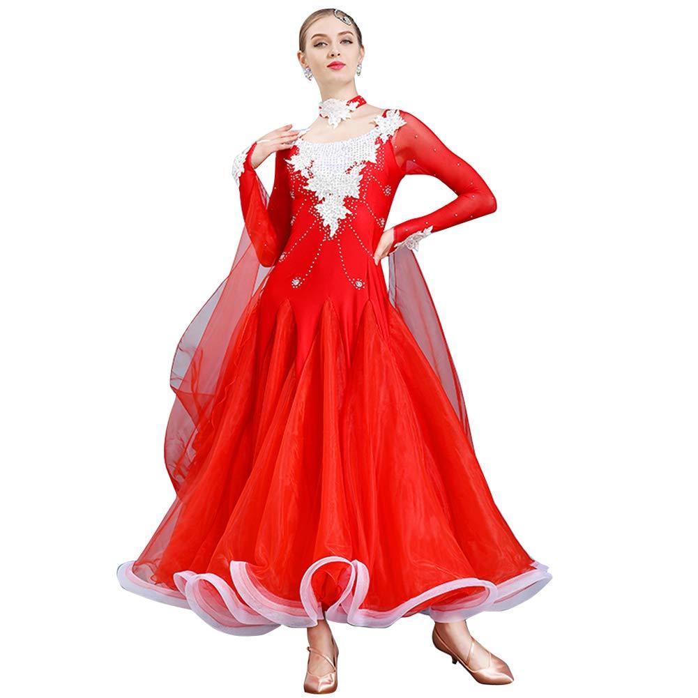 LNIGHT 6色が選べる ダンスワンピース 豪華な社交ダンスドレス モダンダンス レッスン着 フラメンコ ルンバ サンバ ワルツ専用ドレス スタンダード練習着 競技用 発表会用演出服 B07KPW55PL Medium|レッド レッド Medium