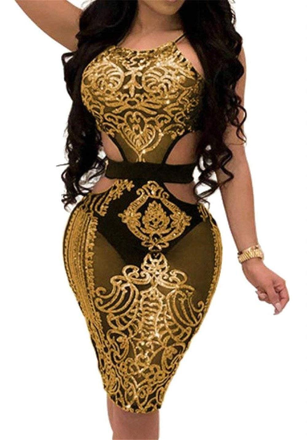 Vgvgh Womens Cut Out Sequin Night Club Sparkle Spaghetti Strap Skinny Mini Dress