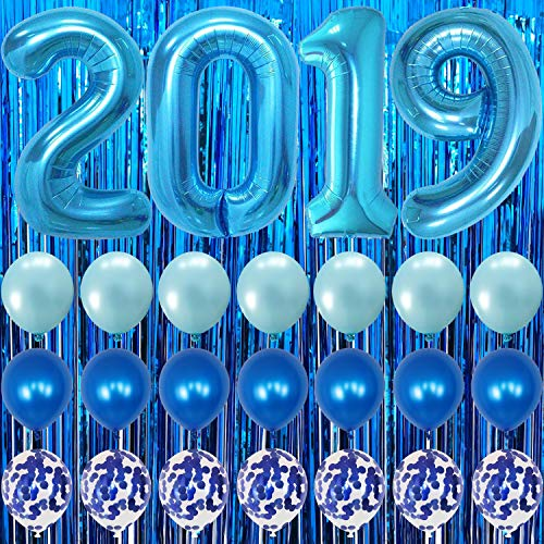 - Blue Graduation Party Supplies 2019 - Blue Foil Fringe Curtain Backdrop | Large Blue 2019 Balloons | 7 Blue Confetti Balloons | 7 Blue Latex Balloons | 2019 Graduation Decorations Blue and White