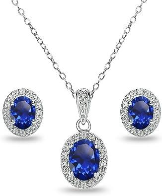 Citrine et blanc Sapphire collier pendentif argent sterling 925