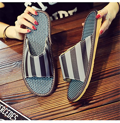M Leather Wooden Men Summer PU TELLW Floor Slippers Mute Gris Spring and Autumn for Women xOqwaI