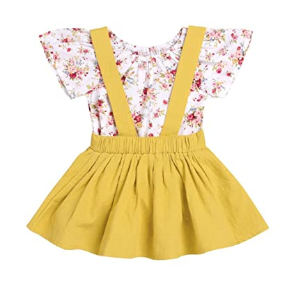 cfcf4dcd619 Ankola 2Pcs Infant Baby Girls Floral Print Rompers Jumpsuit Strap Skirt  Outfits Set for Father