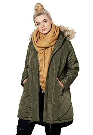 54829bc5e64 Ellos Women s Plus Size Faux Fur Hooded Parka at Amazon Women s ...