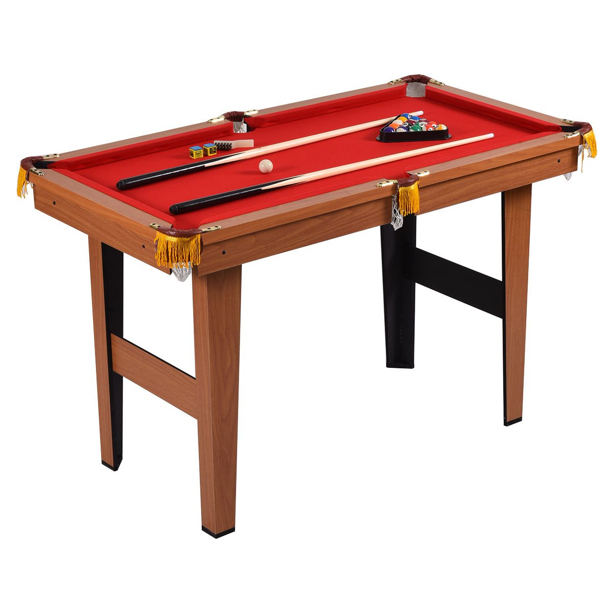 Red 48'' Billiards Pool Game Table Set Mini Size w/ 2 Cues and 16 Balls