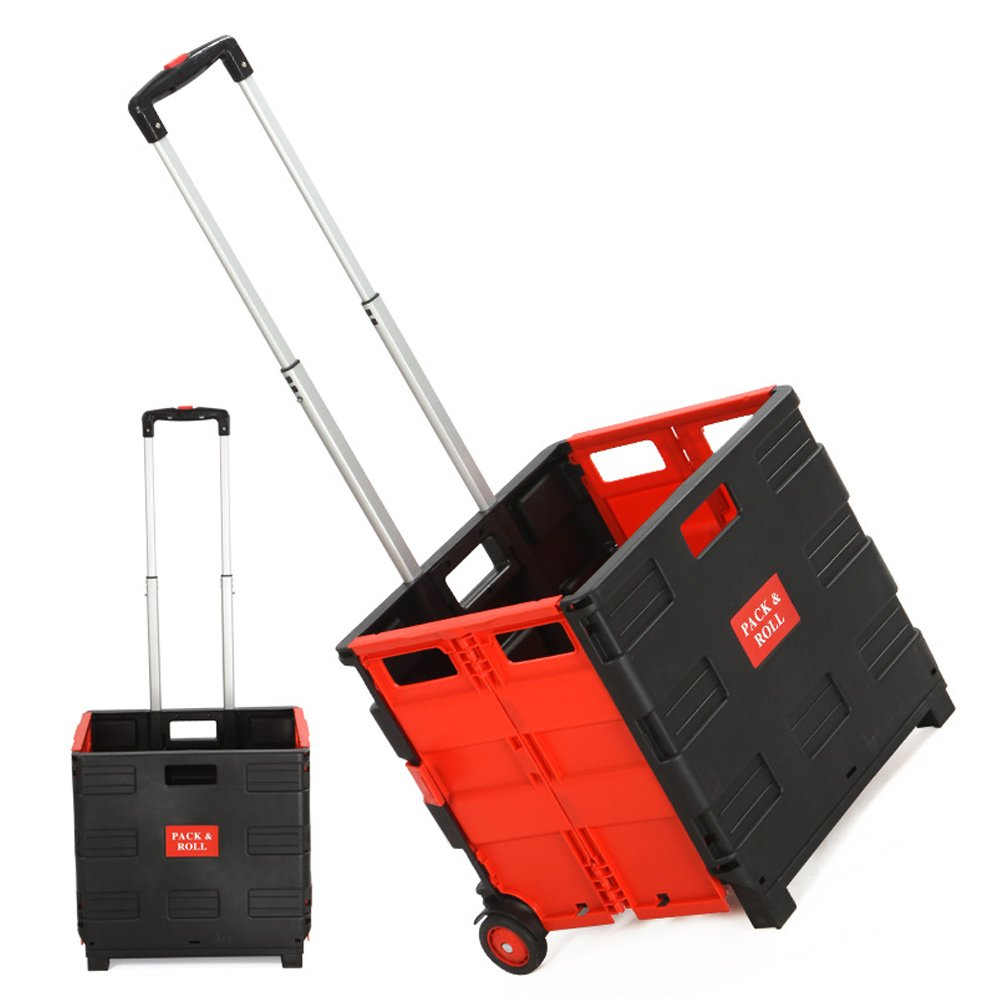 Dporticus Folding Two-Wheeled Trolley Hand Cart Plastic Hefty Heavy Carry Shopping Picnic Travel Office (Red/Large)