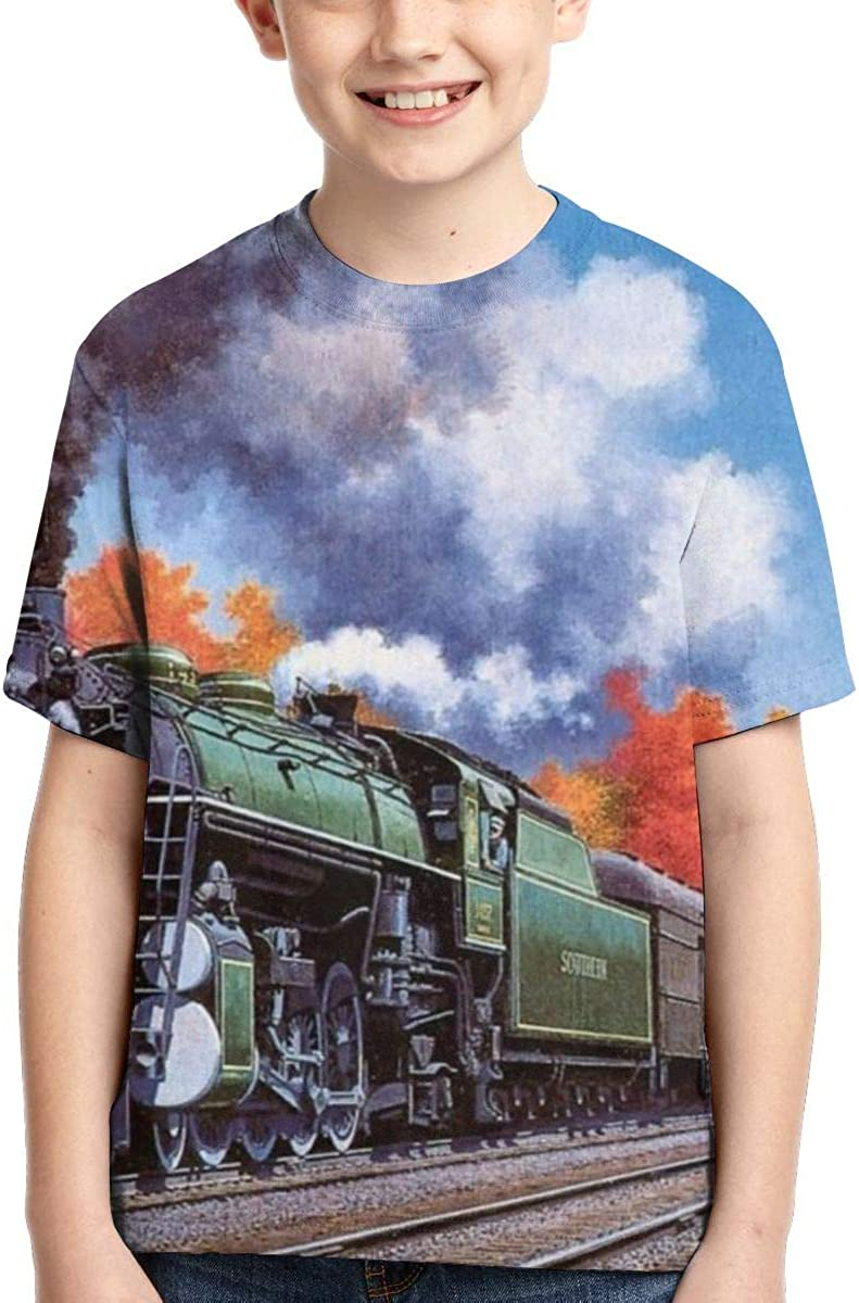 XS-XL Vy32jg-2 Short Sleeve Steam Trains Little Durable T-Shirts for Children Casual Blouse Clothes