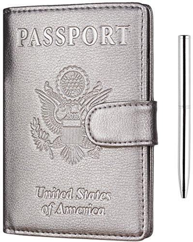 NapaWalli Leather Passport Holder Wallet Cover Case RFID Blocking Travel Wallet (nappa silverish grey buckled)