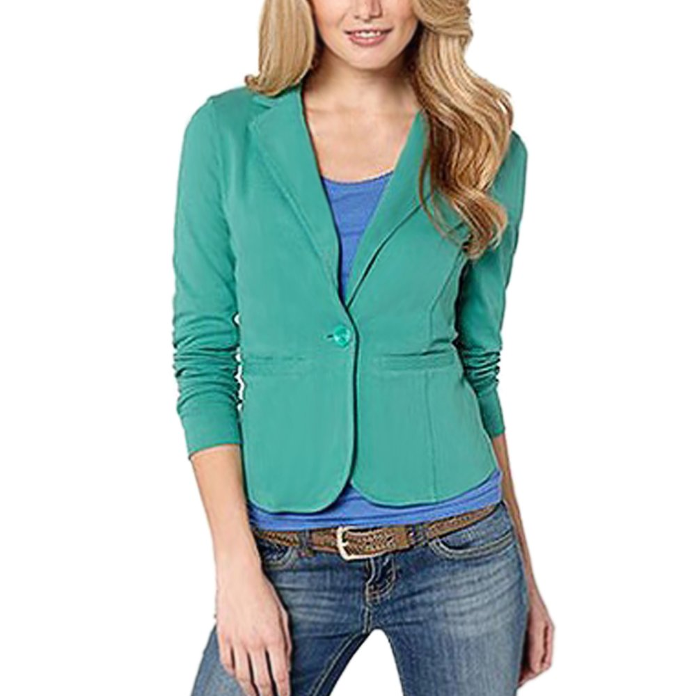 Lrud Women's Notched Lapel Long Sleeve Slim Fitted Work Casual Blazer Suit Jacket Green S by Lrud