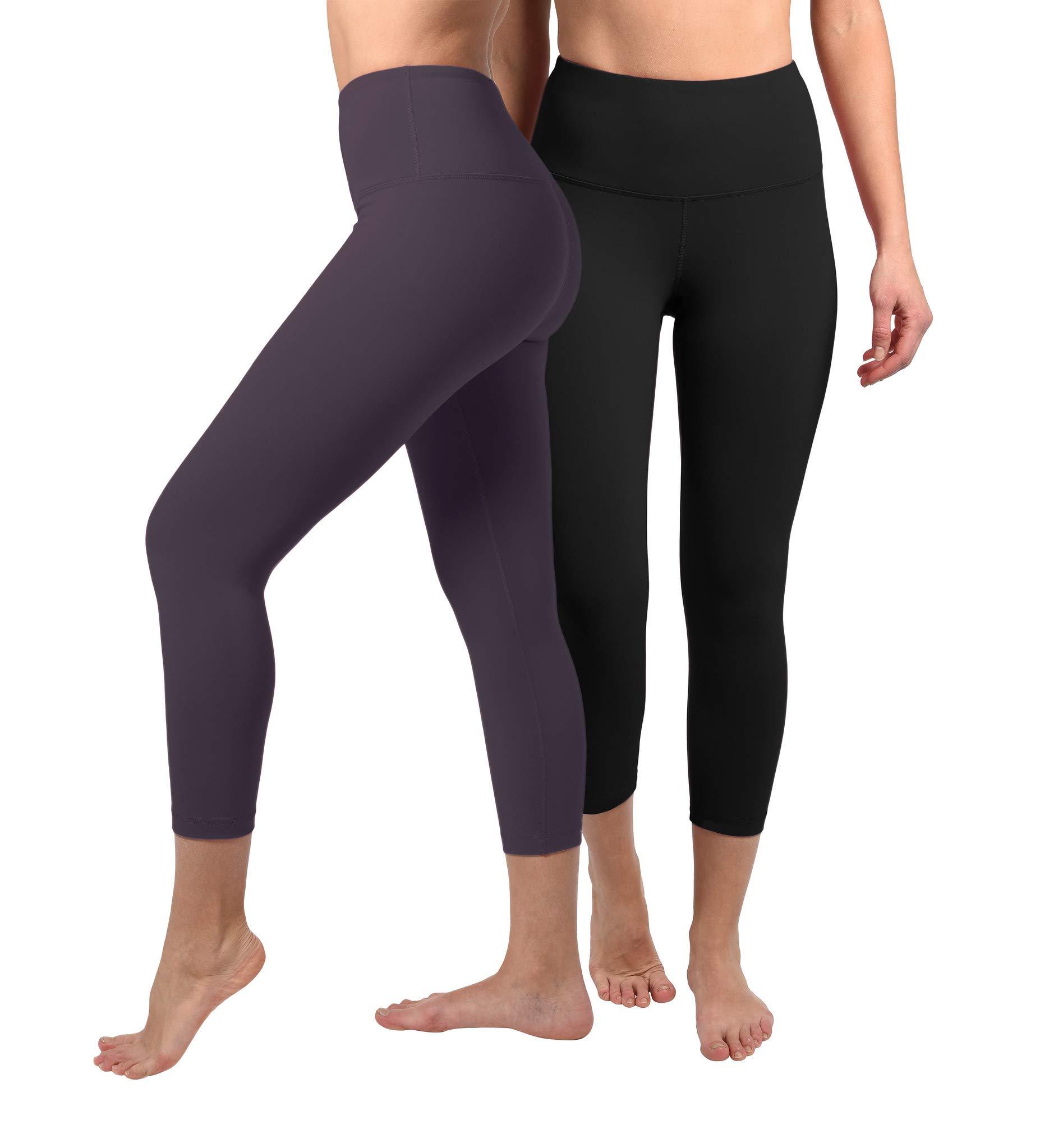 90 Degree By Reflex - High Waist Tummy Control Shapewear - Power Flex Capri - Black and Summer Fig 2 Pack - XS